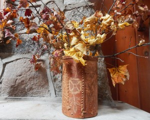 birch container with leaves