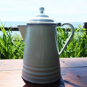 white coffee pot