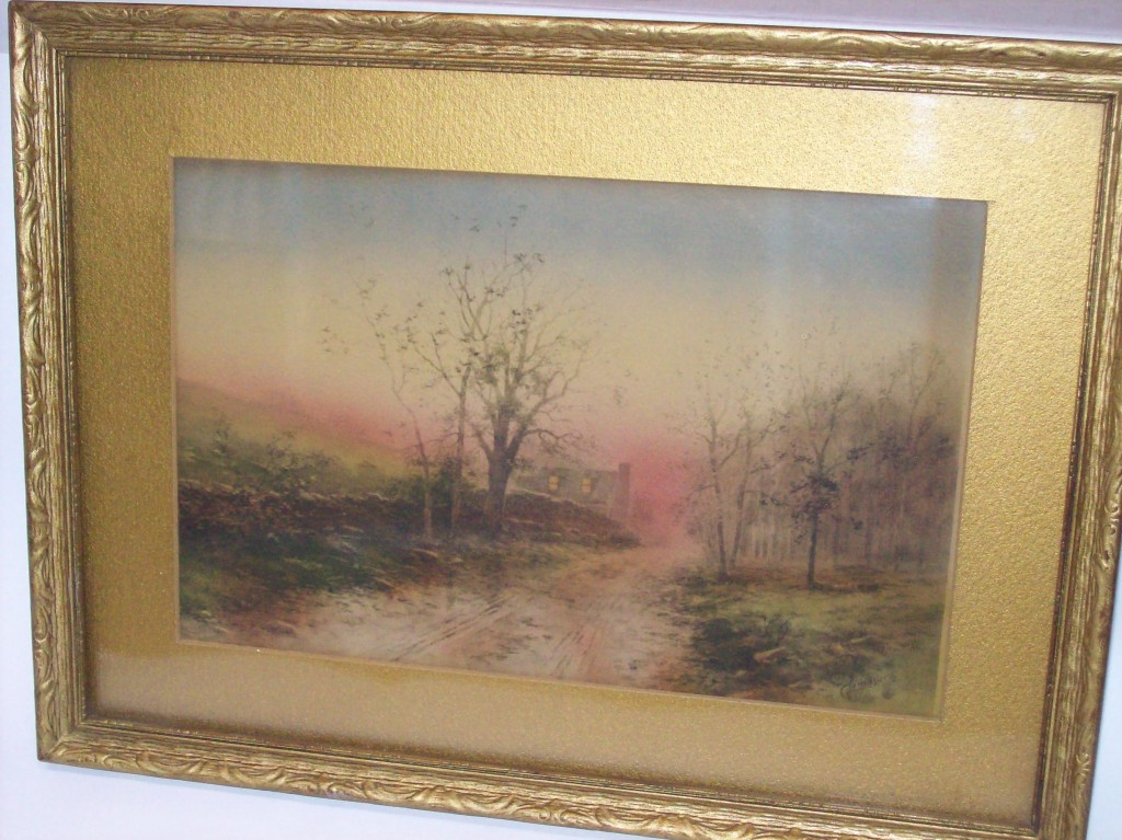 Cottage Watercolor in Rosy Light