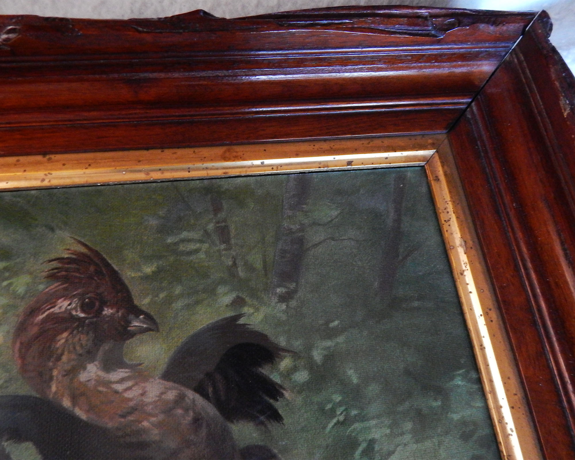 Antique Ruffed Grouse Chromolithograph in Original Frame